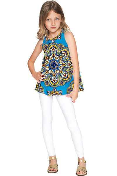Boho Chic Emily Blue Geometric Print Sleeveless Top - Girls