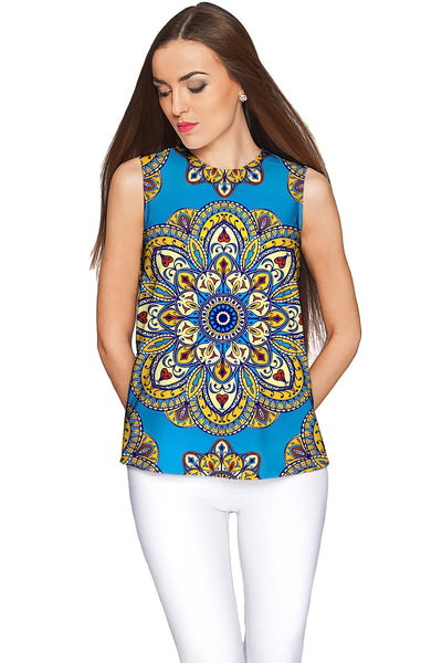 Boho Chic Emily Blue Sleeveless Stretchy Knit Top - Women