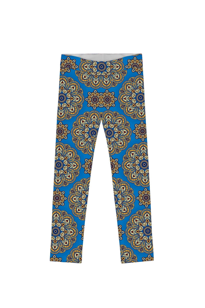 Boho Chic Lucy Cute Blue Geometric Print Leggings - Girls - Pineapple Clothing