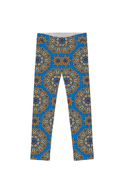 Boho Chic Lucy Cute Blue Geometric Print Leggings - Girls