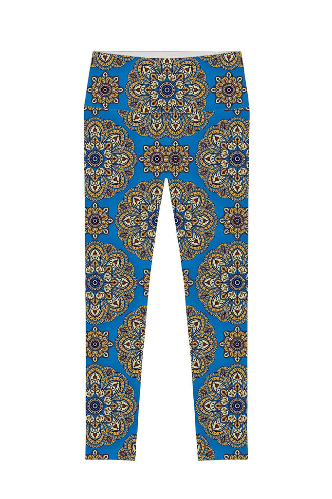 Boho Chic Lucy Blue Printed Performance Leggings - Women - Pineapple Clothing