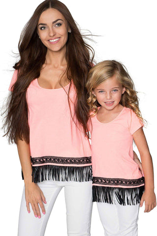 Boho High-Low Fringe Trim Casual T-Shirt Mother Daughter Matching Top - Pineapple Clothing