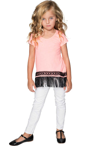 Boho High-Low Fringe Trim Casual Top - Girls - Pineapple Clothing