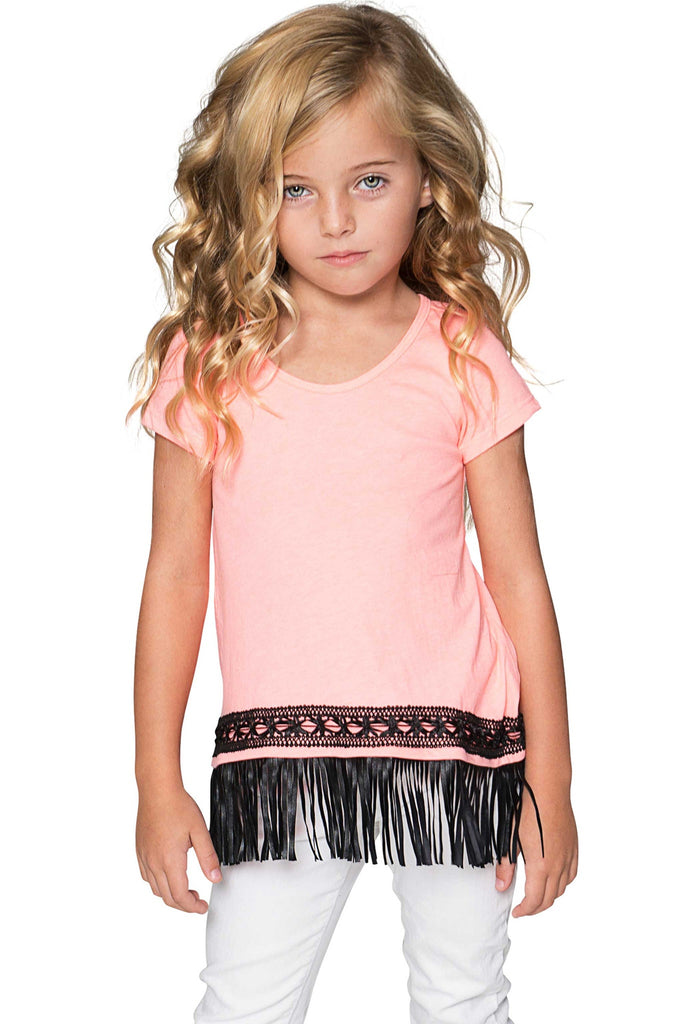 Boho High-Low Fringe Trim Cute Trendy Casual Top - Girls - Pineapple Clothing