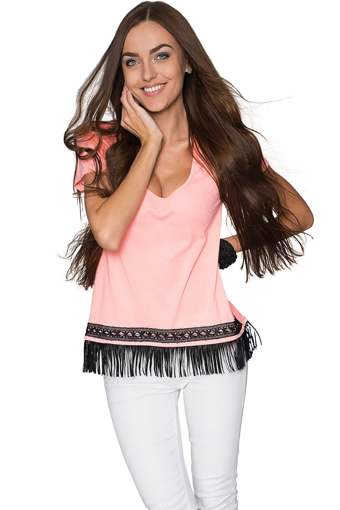 Boho High-Low Fringe Trim Casual Top - Women - Pineapple Clothing