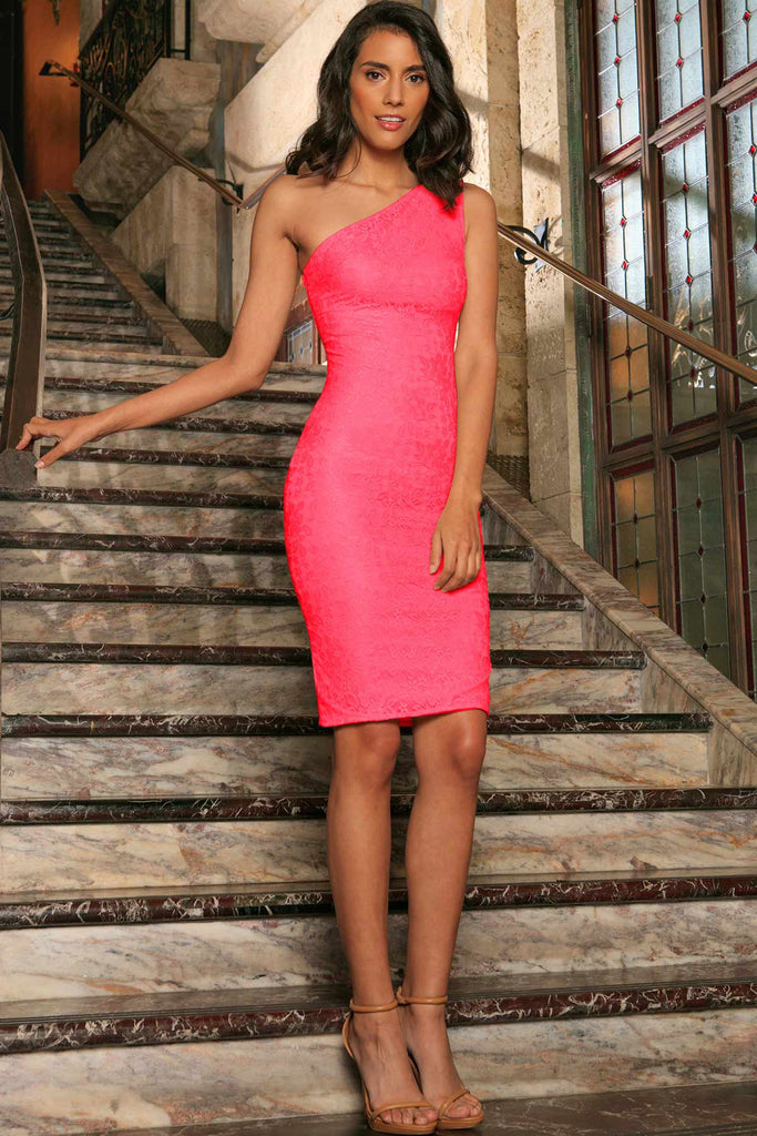 Bright Neon Pink Lace One Shoulder Bodycon Party Dress Women