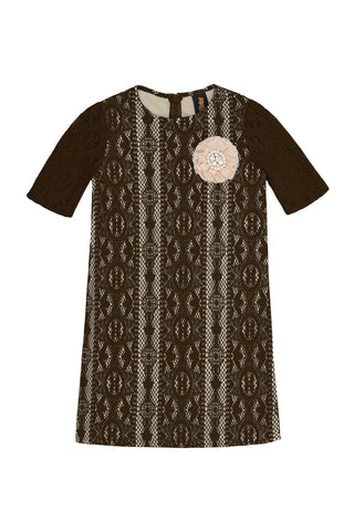 Brown Crochet Lace Elbow Sleeve Shift Party Cocktail Dress - Girls