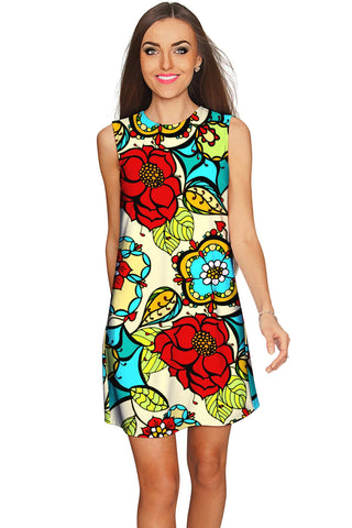 Carnaval Adele Colorful Print Summer Shift Dress - Women - Pineapple Clothing