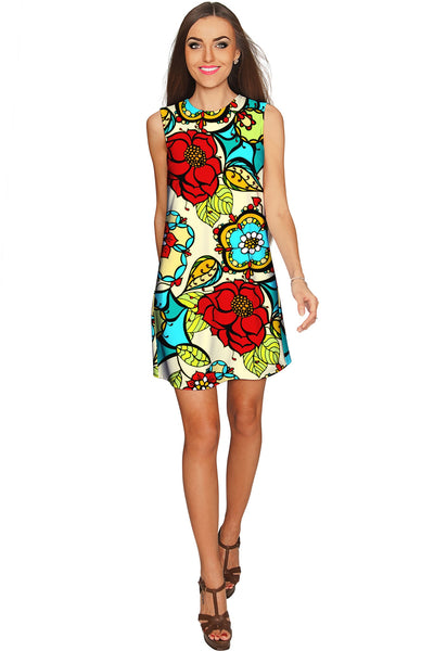 Carnaval Adele Colorful Print Summer Shift Dress - Women