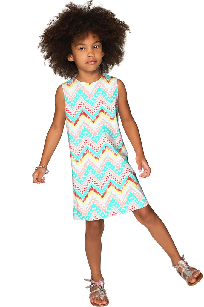 Chevron Please Adele Cute Babydoll Shift Dress - Girls - Pineapple Clothing