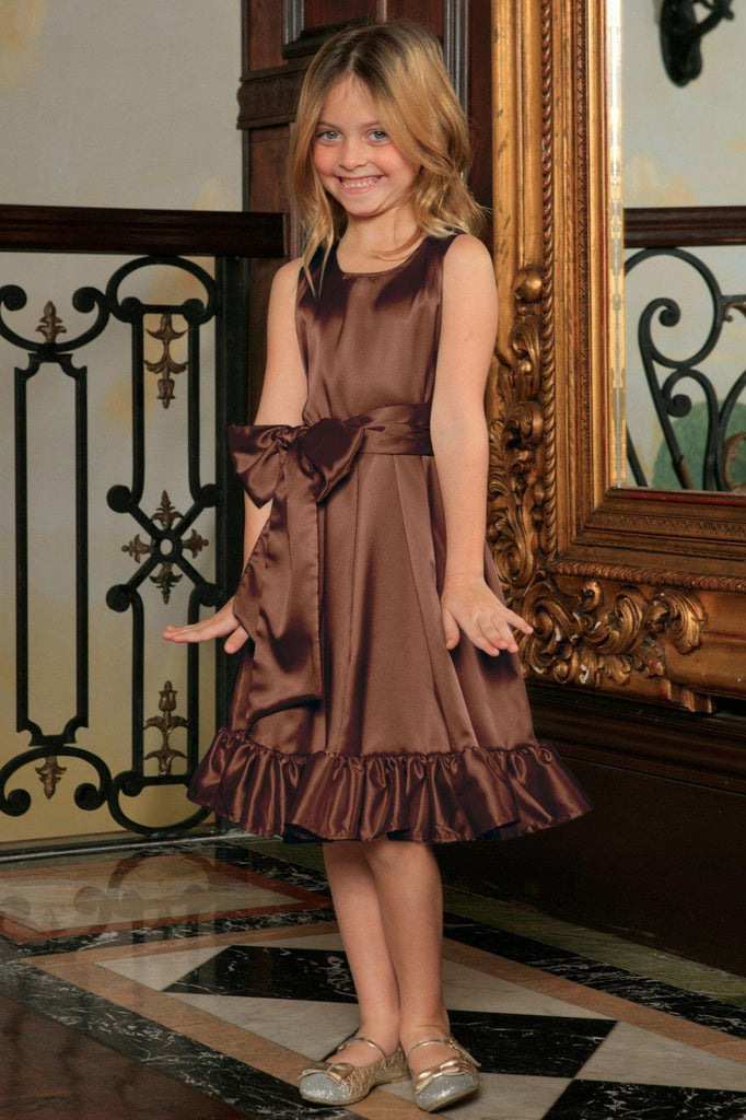 Chocolate Brown Charmeuse Fit & Flare Ruffle-Hem Party Dress with belt - Girls