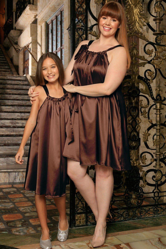 Chocolate Brown Charmeuse Halter Swing Summer Mommy and Me Dresses Plus Size