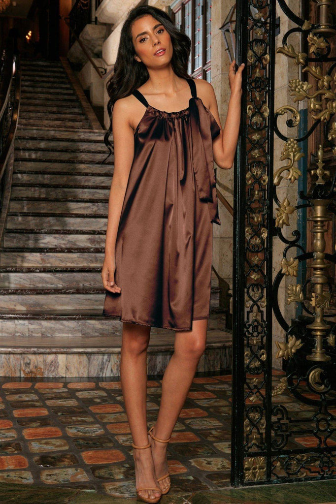 28a44af9c99b Chocolate Brown Charmeuse Halter Swing Summer Party Dress - Women -  Pineapple Clothing