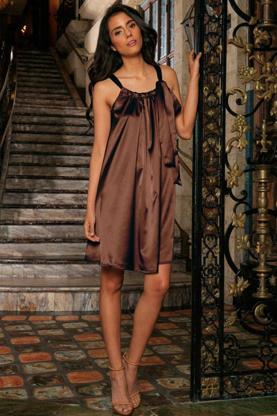 Chocolate Brown Charmeuse Halter Swing Summer Party Dress - Women