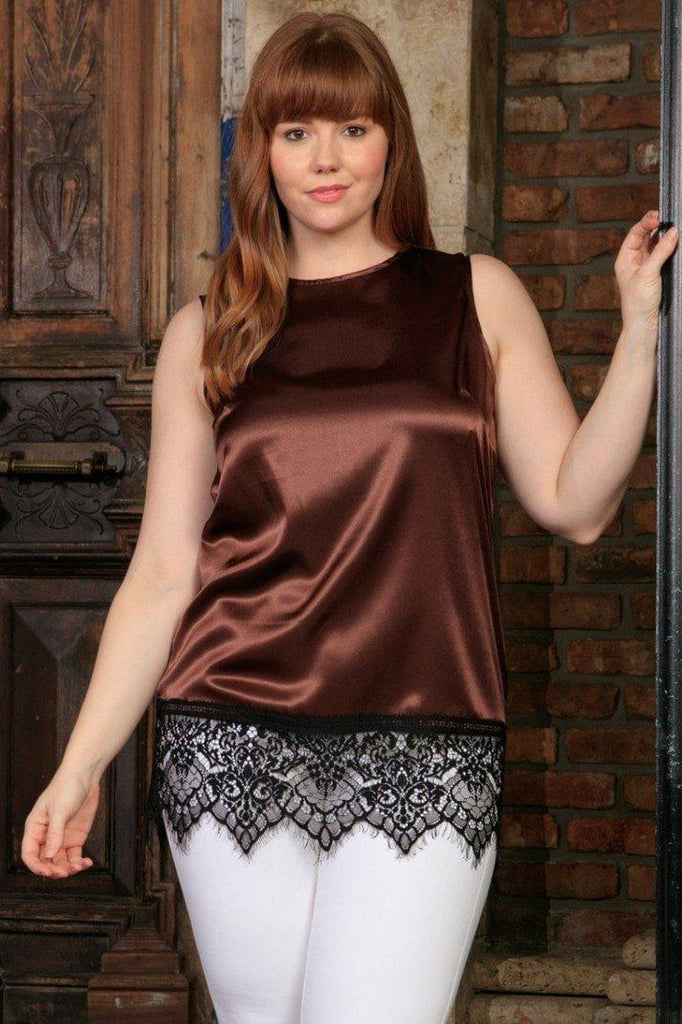 Chocolate Brown Charmeuse Sleeveless Dressy Top With Lace - Women