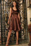 Chocolate Brown Charmeuse Sleeveless Skater Evening Party Dress - Women