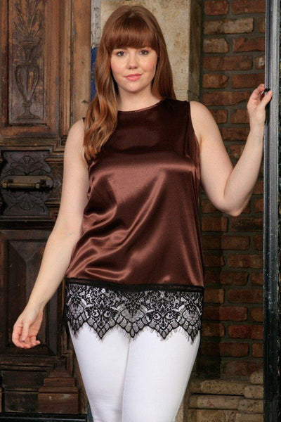 Chocolate Brown Sleeveless Chic Sexy Dressy Top With Lace - Women Plus Size
