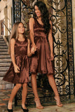 Chocolate Brown Sleeveless Chic Skater Fit Flare Mother Daughter Dress - Pineapple Clothing