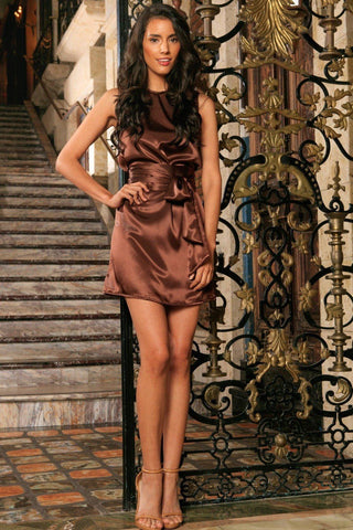 Chocolate Brown Sleeveless Evening Cocktail Shift Mini Dress - Women - Pineapple Clothing