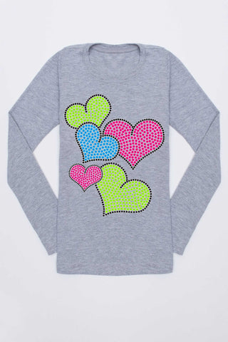 Colorful Hearts Tee - Girls - Pineapple Clothing