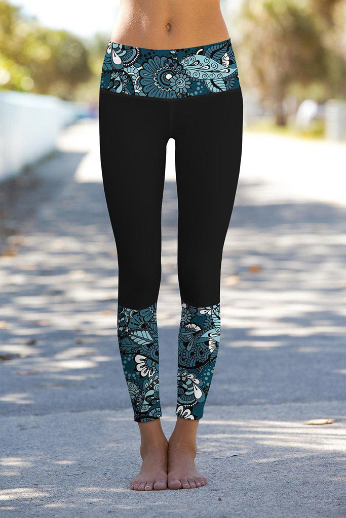 Confidence Black Lucy Printed Details Leggings Yoga Pants - Women