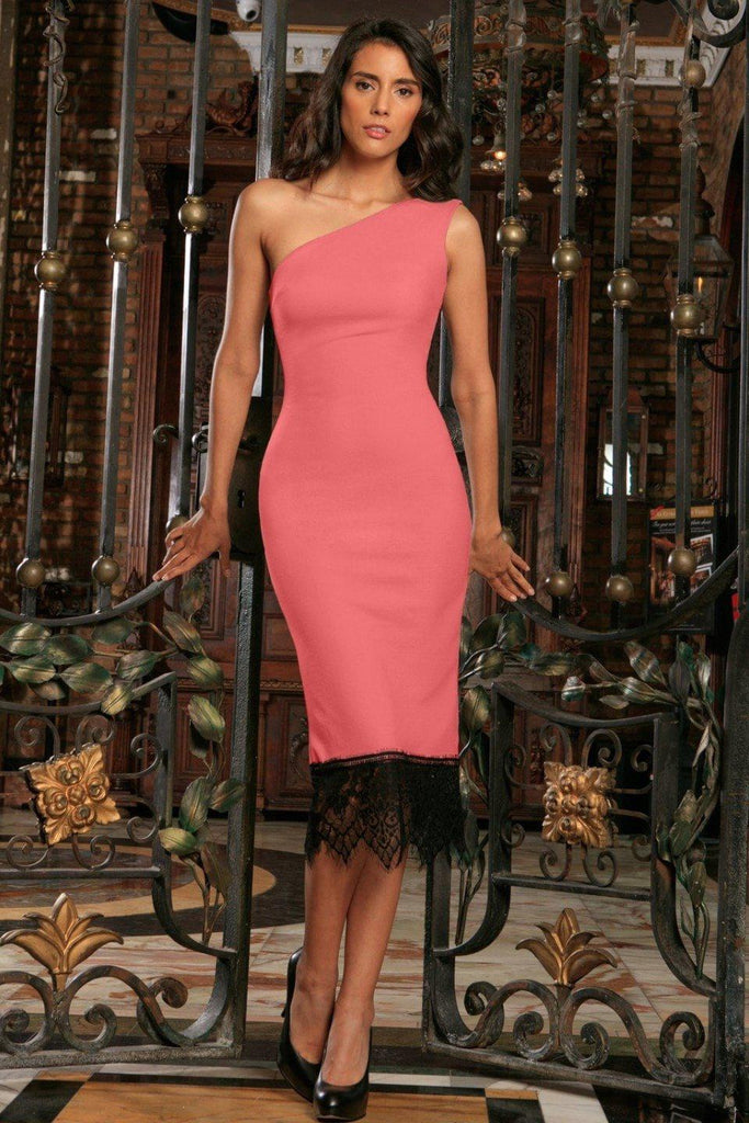 Coral Pink One-Shoulder Bodycon Cocktail Party Midi Dress - Women ...