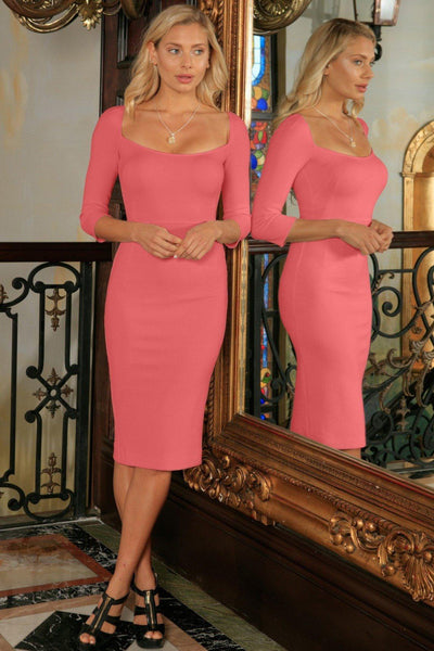 Coral Pink Stretchy 3/4 Sleeve Spring Bodycon Party Midi Dress - Women