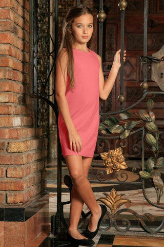 Coral Pink Stretchy Beautiful Summer Sleeveless Shift Dress - Girls