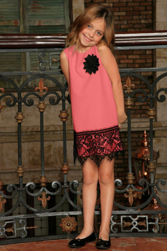 Coral Pink Stretchy Fancy Party Shift Dress With Lace Trim - Girls