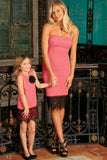 Coral Pink Stretchy Sleeveless Mother Daughter Dress - Pineapple Clothing