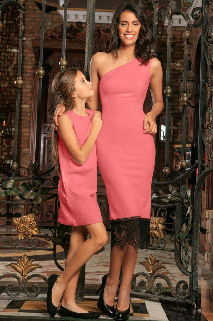 d7cbd22f0f Coral Pink Stretchy Trendy Summer Mommy and Daughter Matching Dresses -  Pineapple Clothing