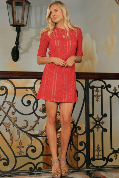 Coral Red Crochet Lace 3/4 Sleeve Cute Party Shift Mini Dress - Women