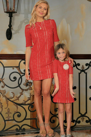 Coral Red Crochet Lace Elbow Sleeve Party Shift Mother Daughter Dress - Pineapple Clothing