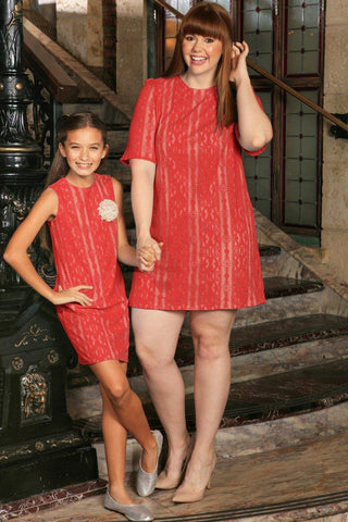 Coral Red Crochet Lace Holiday Mother Daughter Dress Plus Size - Pineapple Clothing