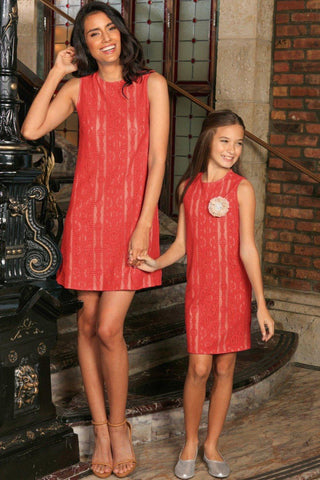 Coral Red Crochet Lace Sleeveless Mommy and Me Matching Summer Dresses