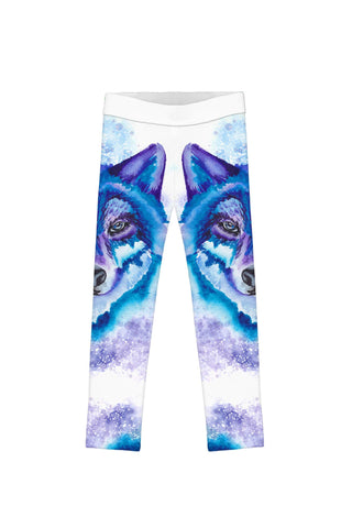 Dance with the Wolves Lucy White Printed Leggings - Girls - Pineapple Clothing