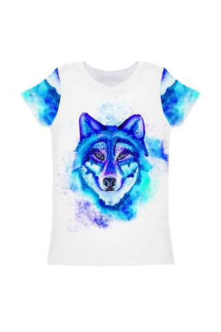 Dance with the Wolves Zoe White Blue Animal Print T-Shirt - Girls