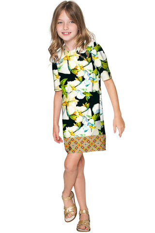 Date Night Grace Fancy Printed Sleeved Shift Dress - Girls - Pineapple Clothing
