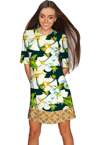 Date Night Grace Evening Floral Sleeved Shift Dress - Women - Pineapple Clothing