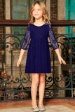 Deep Navy Stretchy Lace Empire Waist Three-Quarter Sleeve Dress - Girls