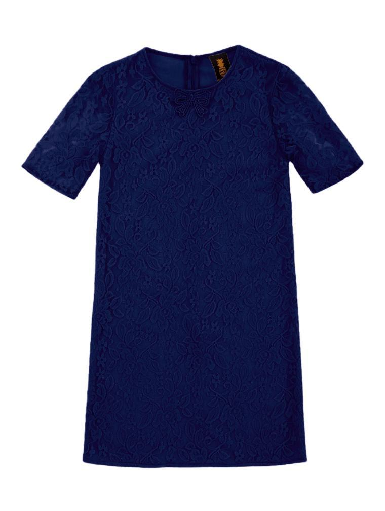 Deep Navy Stretchy Lace Adorable Sleeved Shift Party Dress - Girls