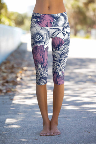 Dream Catcher Ellie White Purple Floral Yoga Capri Leggings - Women