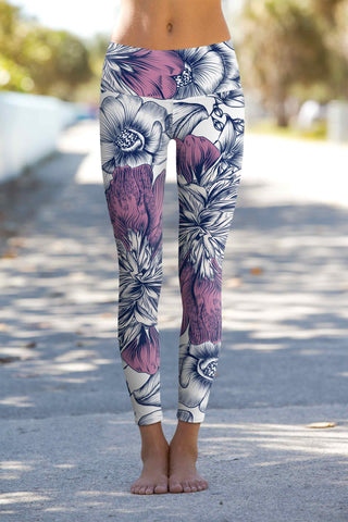 Dream Catcher Lucy White Floral Print Leggings Yoga Pants - Women
