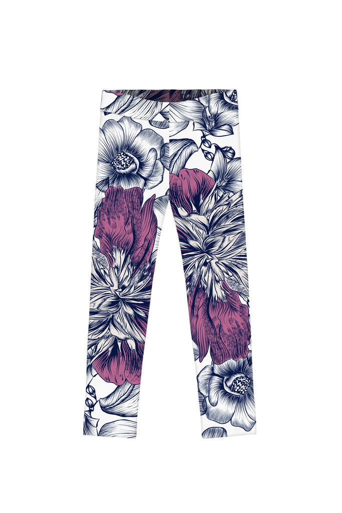 Dream Catcher Lucy White Blue Cute Floral Print Leggings - Girls