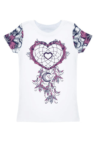 Dream Catcher Zoe Boho Heart Print T-Shirt - Women