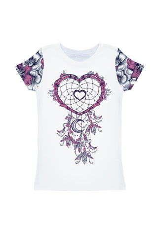 Dream Catcher Zoe White Boho Heart Print T-Shirt - Girls