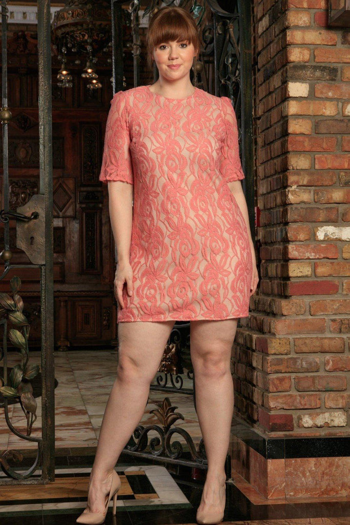 Dusty Pink Lace Elbow Sleeve Chic Party Sexy Shift Dress - Women Plus Size