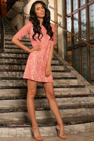 Dusty Pink Lace Elbow Sleeve Cocktail Party Shift Mini Dress - Women