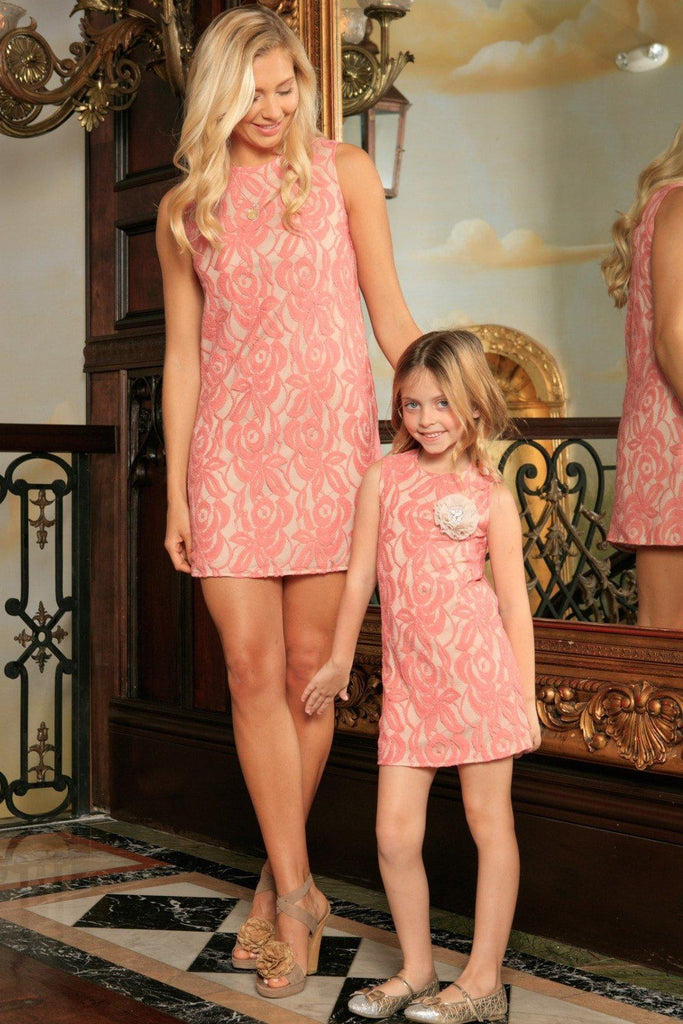 3f6bfa9b Dusty Pink Lace Sleeveless Spring Summer Party Shift Mommy & Me Dress