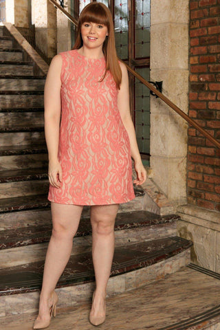 Dusty Pink Lace Sleeveless Fancy Cocktail Sexy Shift Dress Plus Size - Pineapple Clothing